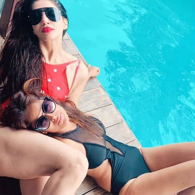 Nia Sharma wears a black monokini