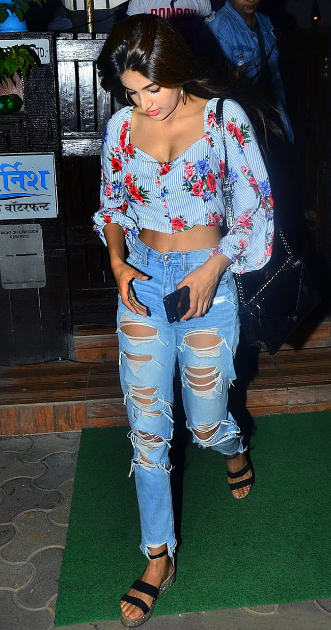Nidhi Agerwal snapped coming out of a cafe in Bandra