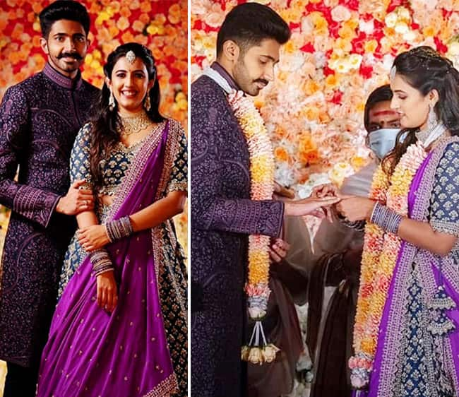 Niharika Konidela wore a sheer purple heavy embroidered lehenga in her engagement