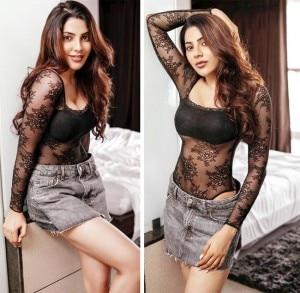 South Indian Actor Nikki Tamboli Looks Ravishing in a Sheer Black Monokini and Denim Shorts