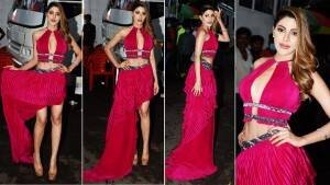 Bigg Boss OTT: Nikki Tamboli Is All Set For Karan Johar's Show In Her Magenta Thigh High Slit Dress | See Pics