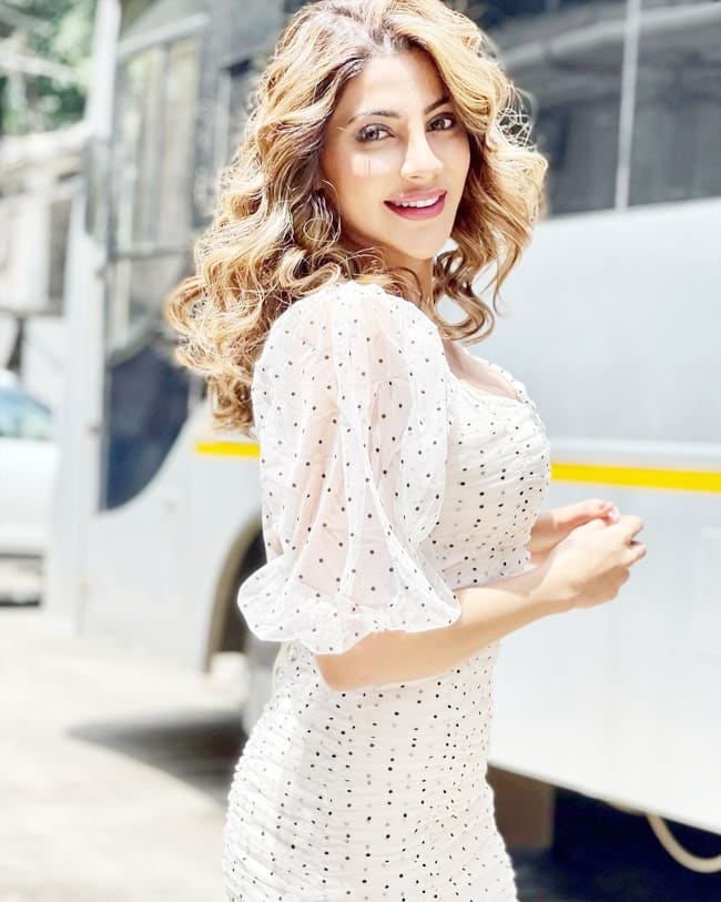 Nikki Tamboli's Polka Dot Dress is Perfect For The Summer Outings