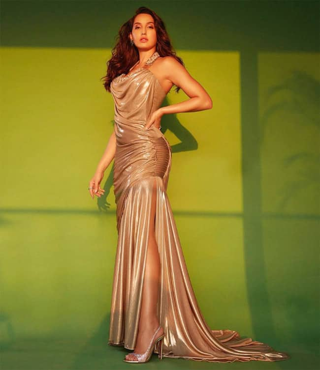 Nora Fatehi flaunts her hour glass figure in a dress by Georges Chakra