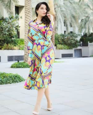 Nora Fatehi is Mesmerising in Multi-Coloured Blouse and Skirt| View PICS