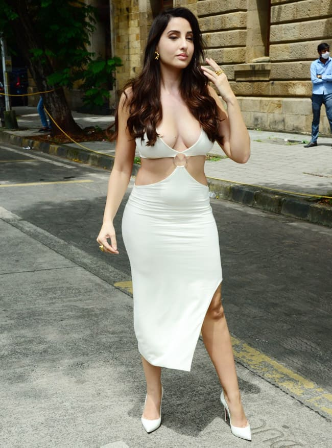 Nora Fatehi Opted for a White Cut Out Dress With a Plunging Neckline