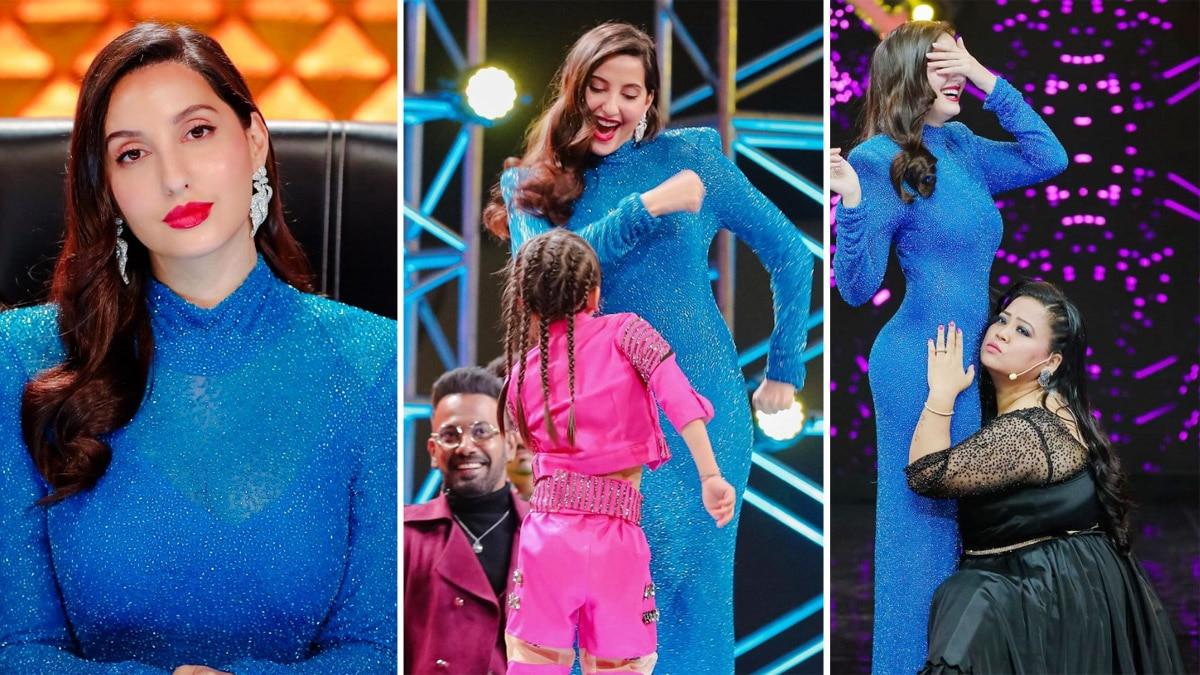 Nora Fatehi rocks a fabulous figure in her blue gown