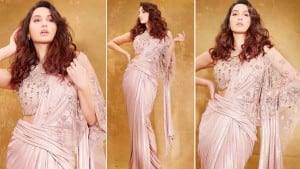 Nora Fatehi Attends Bigg Boss 14 Grand Finale in Gorgeous Sequined Pastel Pink Saree And We Are Smitten!
