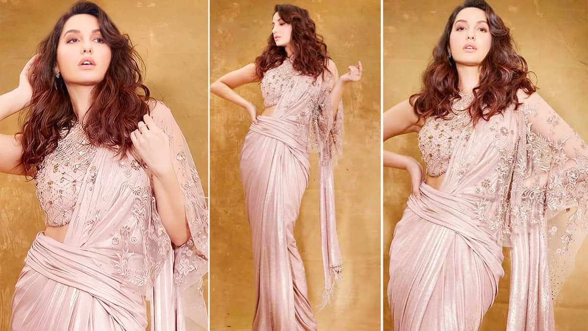 Nora Fatehi Sets Fashion Bar High in Sequined Pastel Pink Saree