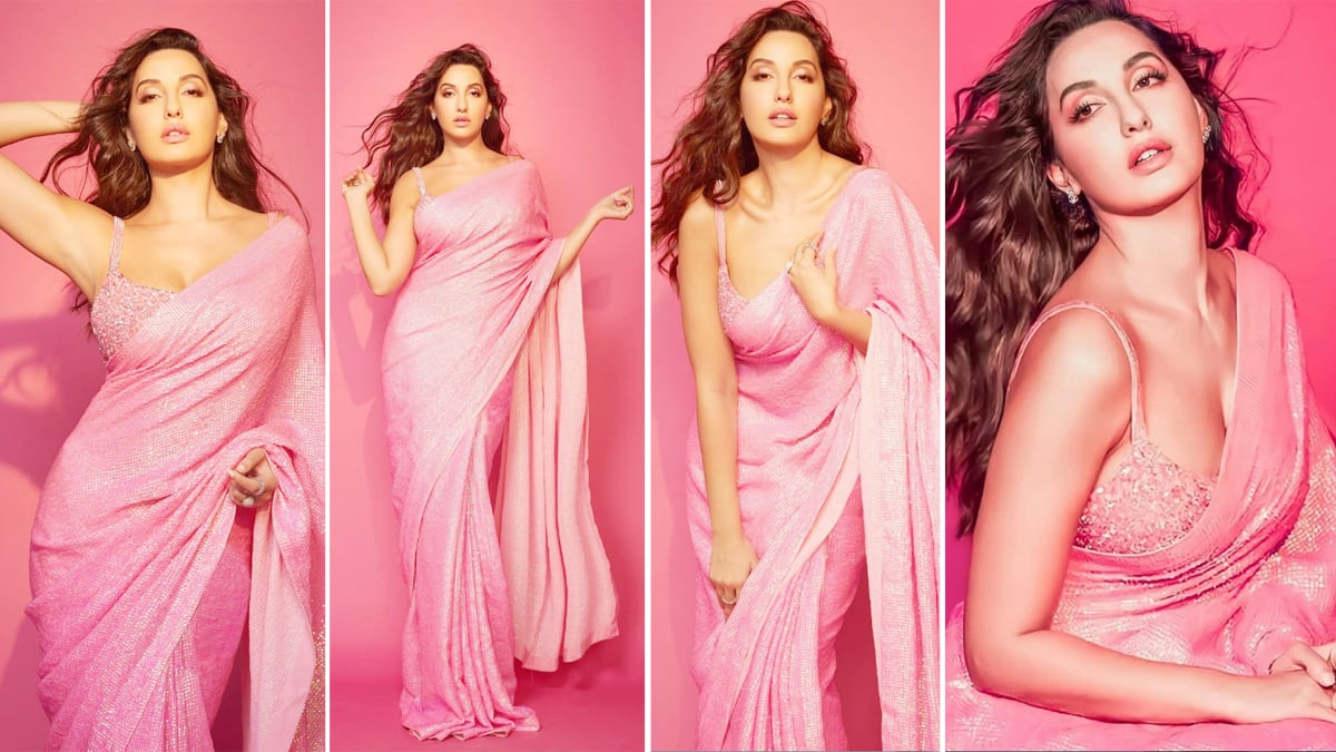 Nora Fatehi Sparkles in a Pink Sequin Saree by Designer Akanksha Gajria