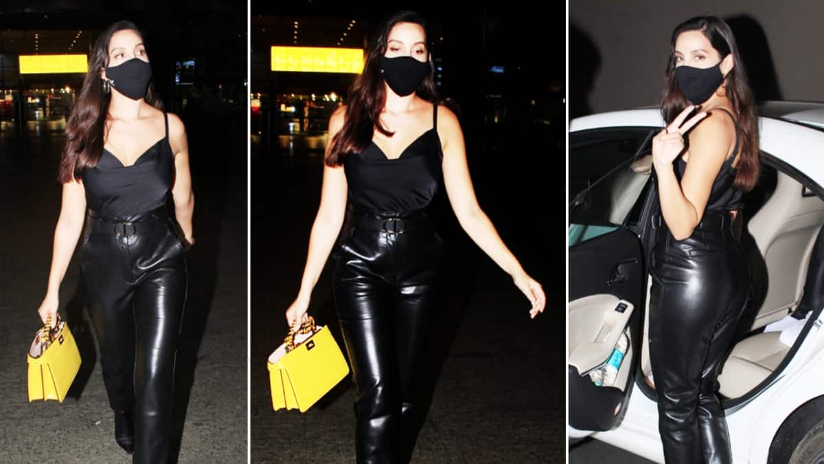 Nora Fatehi stuns at airport in her all black look