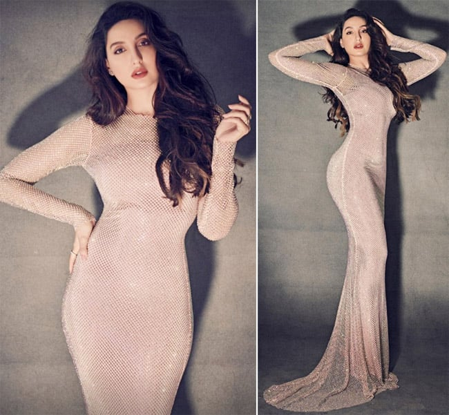 Nora Fatehi stuns in a sparkly sheer gown