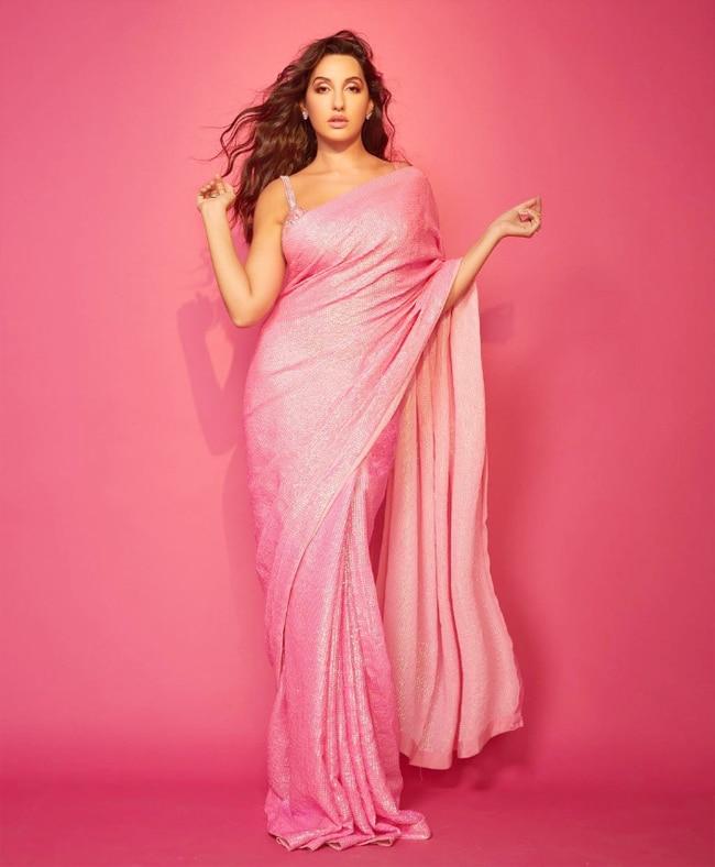Nora Fatehi's Bubblegum Pink Saree is Gorgeous As Ever