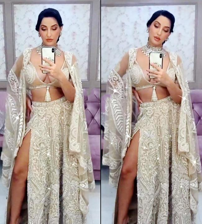 Nora Fatehi's sexy transparent beadwork on blouse
