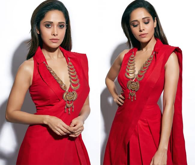 Nushrat Bharucha Stuns in Red Simple Gown And Heavy Neckpiece