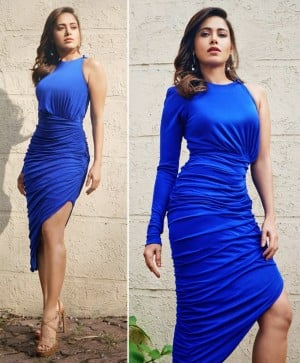 Nushrratt Bharuccha Oozes Oomph in an exotic blue one shoulder dress