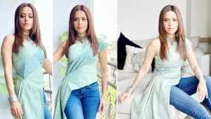 Nushrratt Bharuccha Looks Effortlessly Chick in A Teal Asymmetrical Top And Skinny Fit Jeans For Promotions of Ajeeb Daastaans