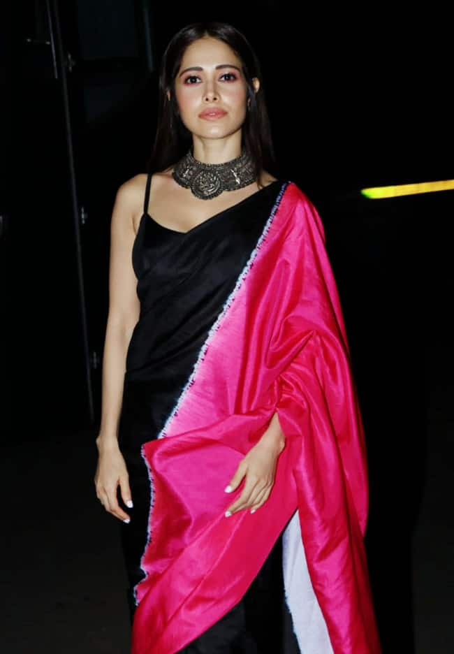 Nushrratt Bharuccha wears a stunning black and pink saree for Chhalaang promotions