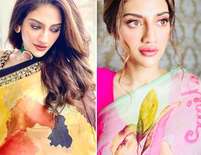 Nusrat Jahan looks gorgeous in a printed saree