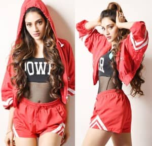 Nusrat Jahan's Bold Chic Look in Black Crop Top And Red Shorts Flaunting Her Perfect Curves Will Leave You Gasping For Breathe