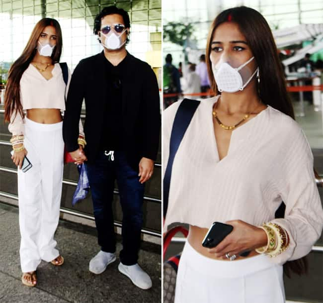 PICS  Poonam Pandey leaves for honeymoon along with husband Sam Bombay