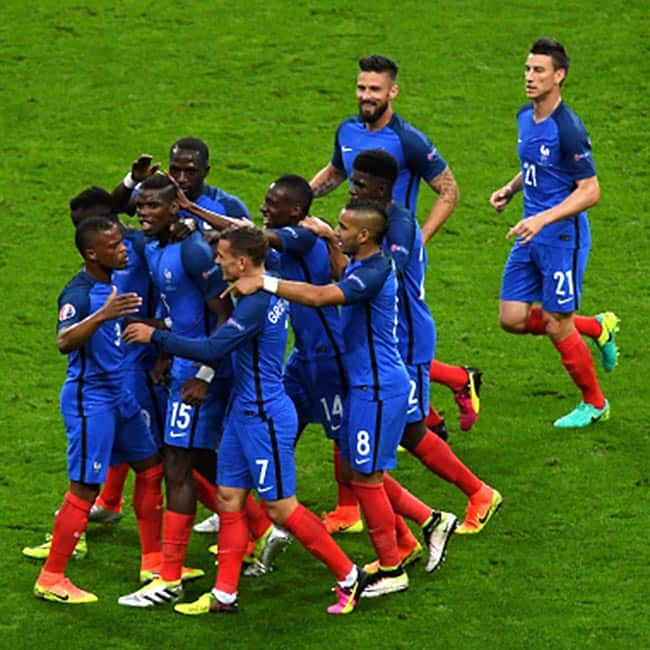 Players of France clicked during UEFA Euro Cup 2016 quarter final match