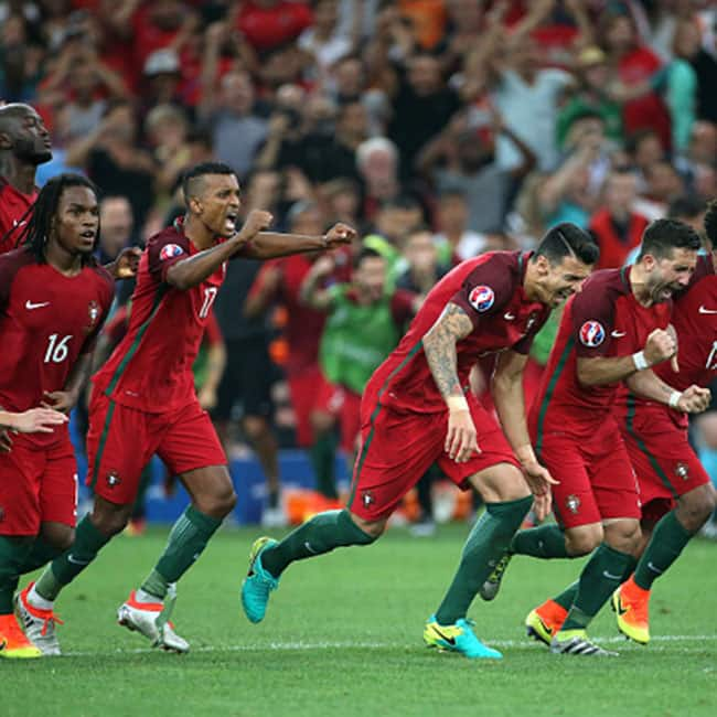 Players of Portugal clicked after winning the quarter final match