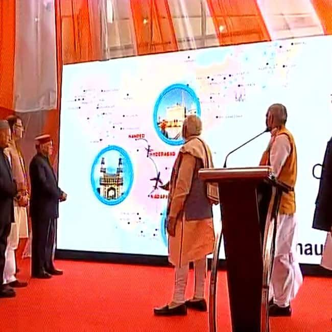 PM Narendra Modi observing UDAN flights route at flagging off event in Shimla