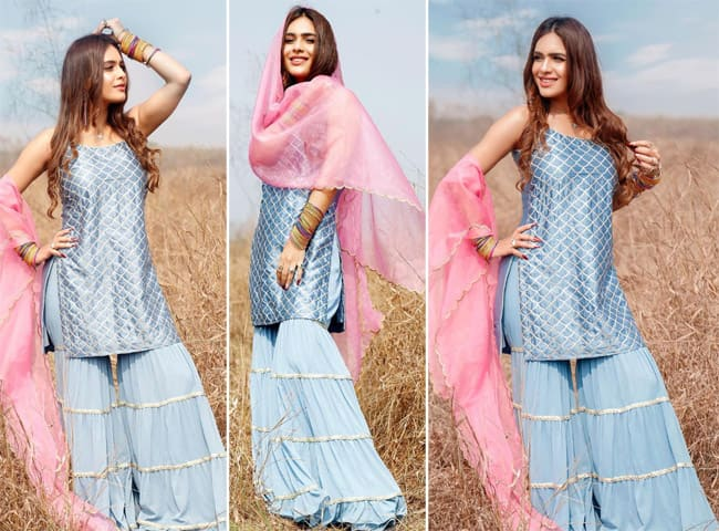 Pollywood actor Neha Malik celebrated Lohri in this pretty blue silk suit
