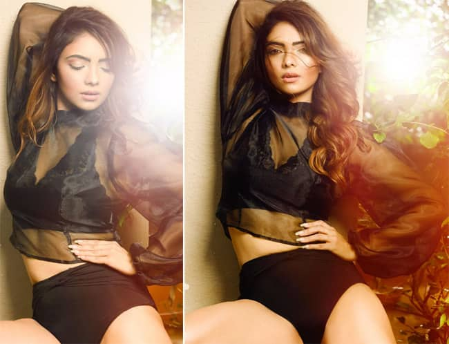 Pooja Banerjee Stuns in a black swimsuit in her latest photoshoot