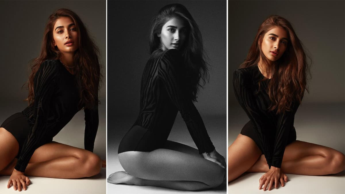 Pooja Hegde Looks Scintillating in Black Bodysuit  Flaunts Her Toned Figure  See Pics