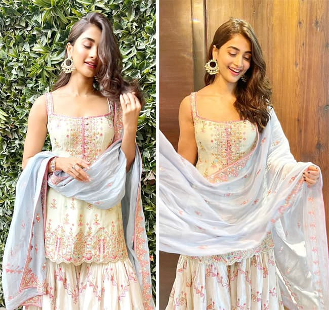 Pooja Hegde looks stunning in a sharara set