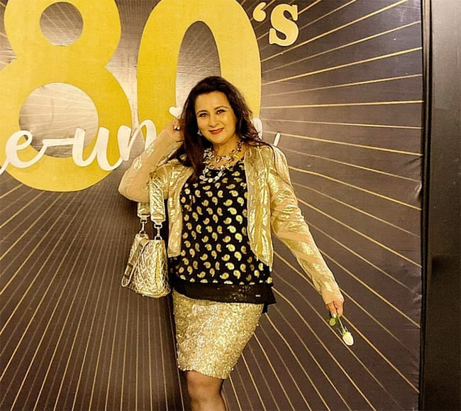 Poonam Dhillon in Gold And black at Chiranjeevi s House