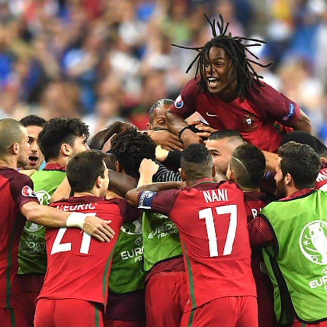 Portugal players celebrating their victory over France to become EURO 2016 Champions