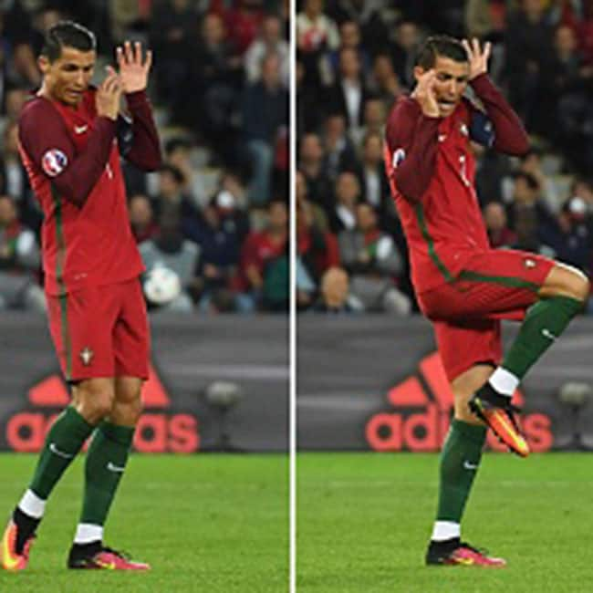 Portugal   s Cristiano Ronaldo clicked in different gestures during UEFA EURO Group F match