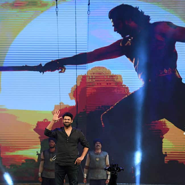 Prabhas enters the stage during Baahubali 2  The Conclusion pre release event