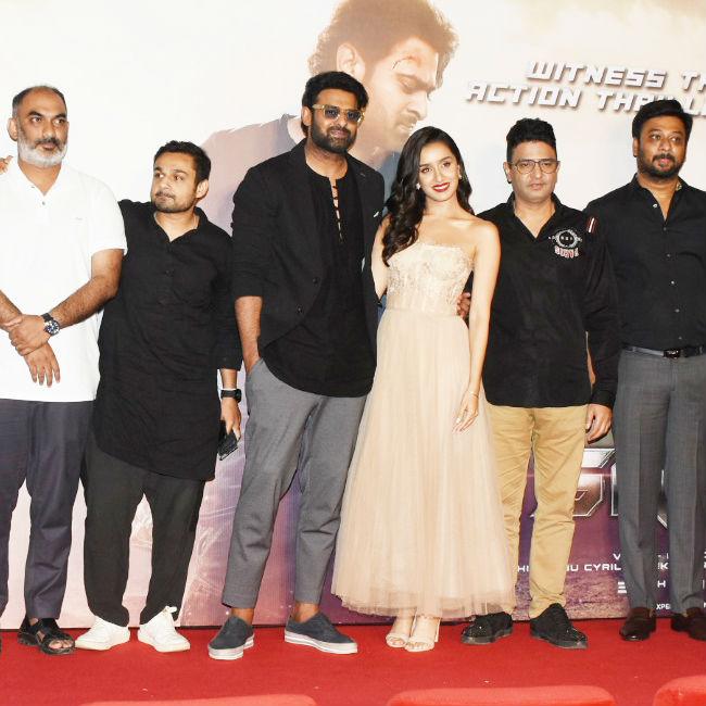 Prabhas  Shraddha Kapoor Make Glamorous Entry at Saaho Trailer Launch