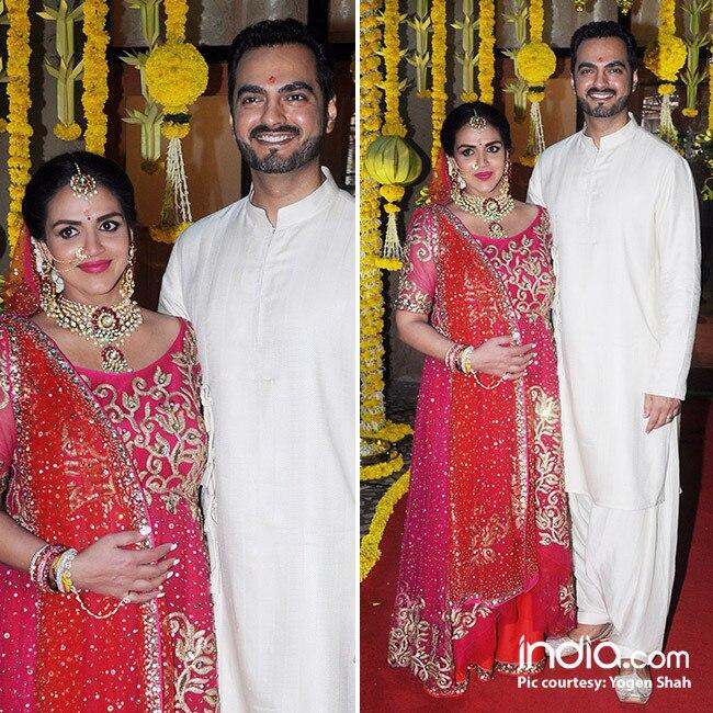Pregnant Esha Deol with husband Bharat Takhtani during her baby shower
