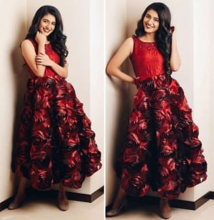 South Indian Sensation Priya Prakash Varrier Paints The Town Red With a Sexy Red Roses Gown