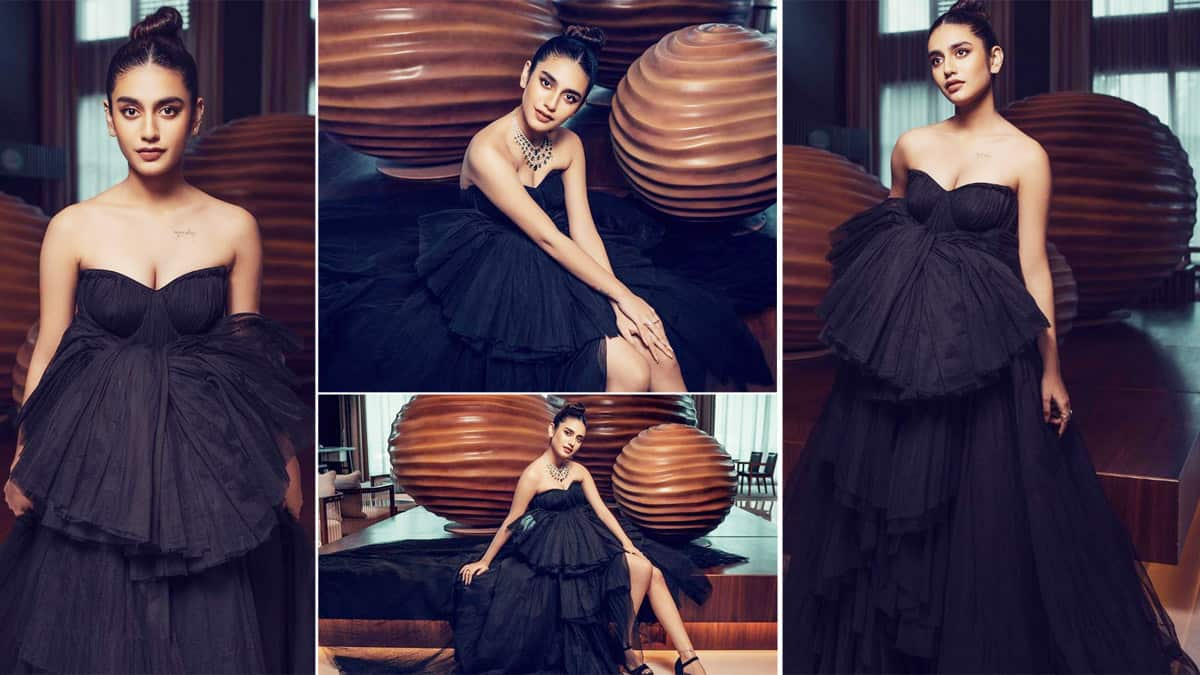 Priya Prakash Varrier Looks Like a Queen Wearing Strapless Black Ball Gown