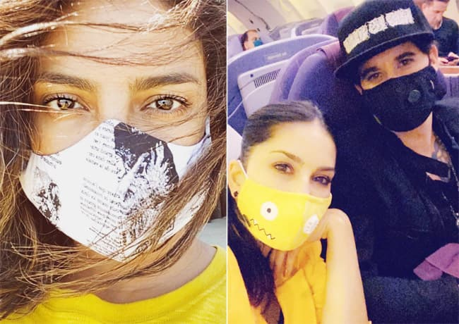 Priyanka Chopra And Sunny Leone Wearing Fancy Designer Masks
