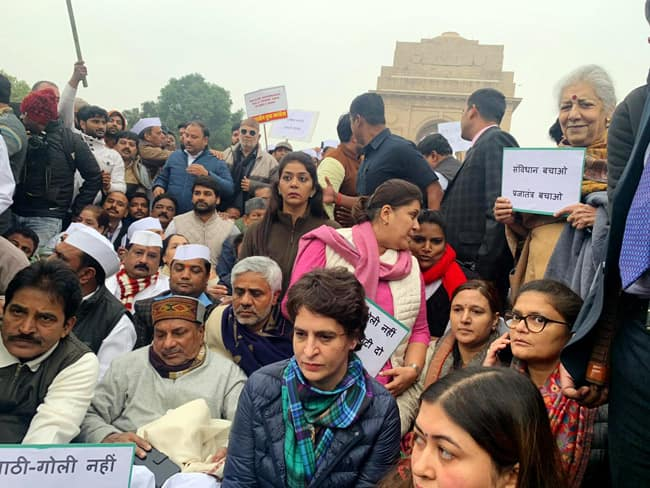Priyanka Gandhi Vadra Stages Sit in at India Gate over Citizenship Act
