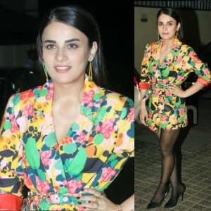 Radhika Madan Wears a Sexy Blazer Dress But Pairs it up With Weird Looking Sheer Tights at Angrezi Medium Screening