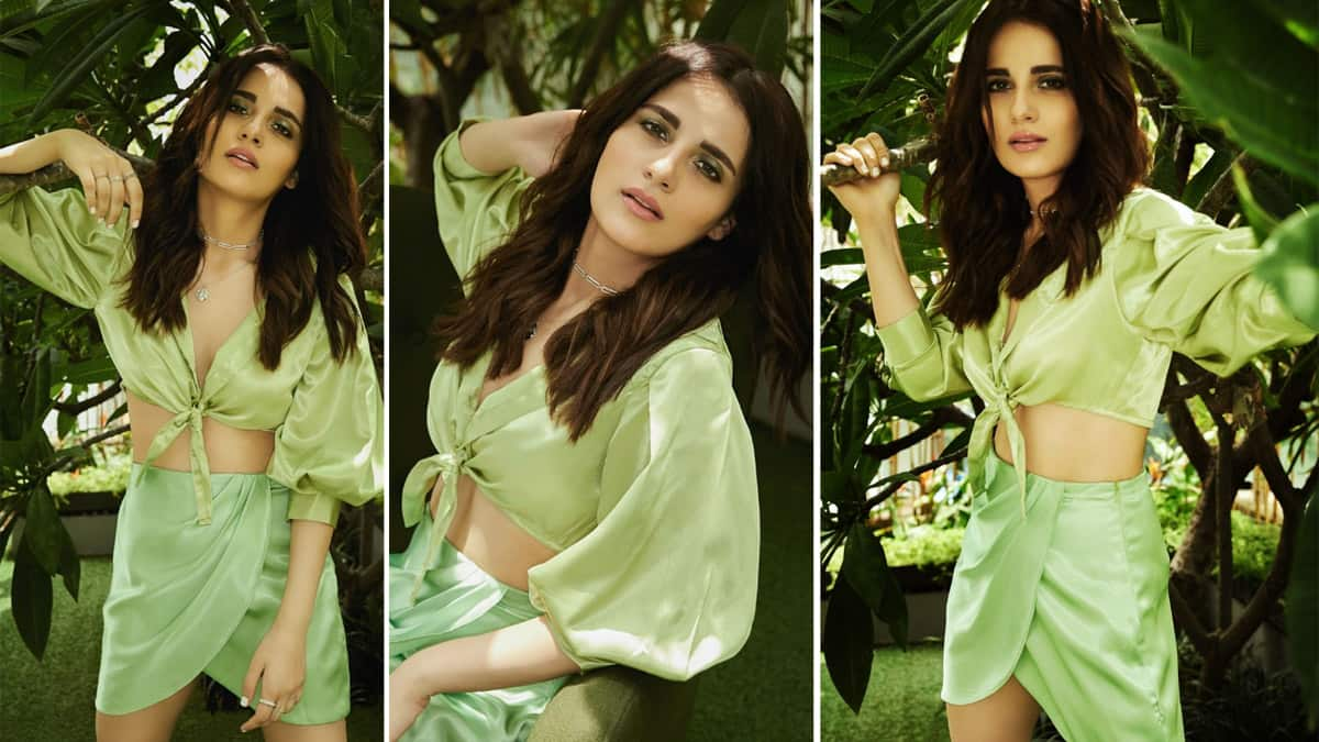 Radhika Madan Goes Sultry In Tie Up Satin Top And Wrap Around Mini Skirt