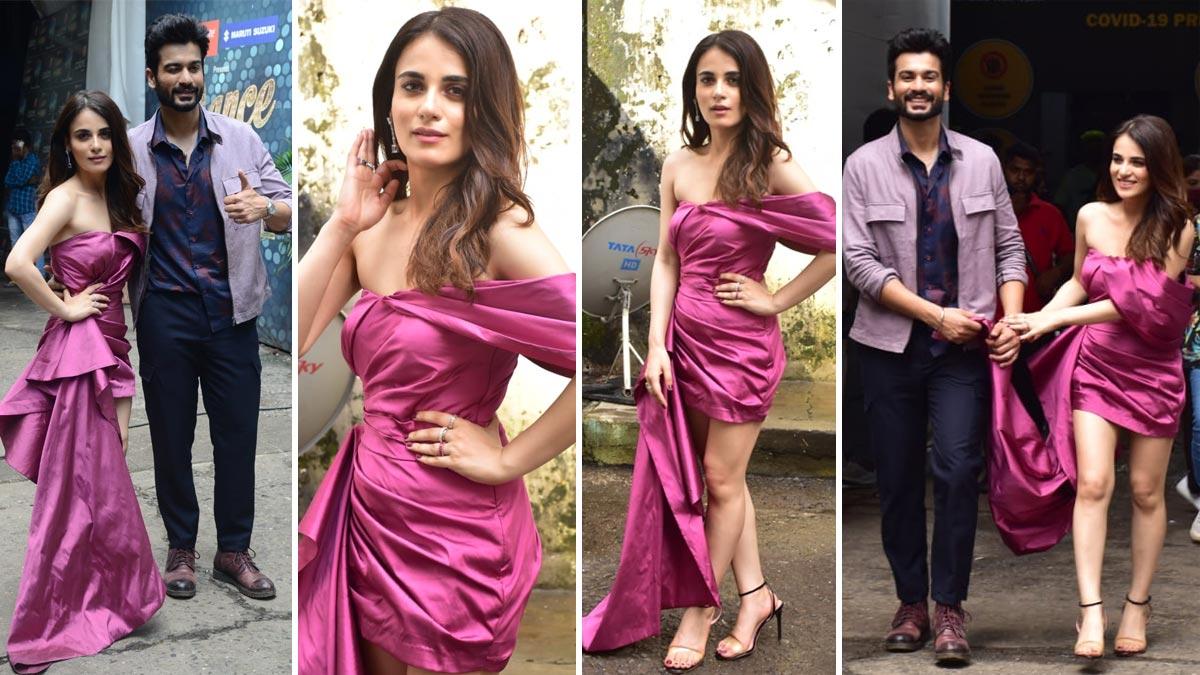 Radhika Madan looks all sexy and stylish in her bright purple dress