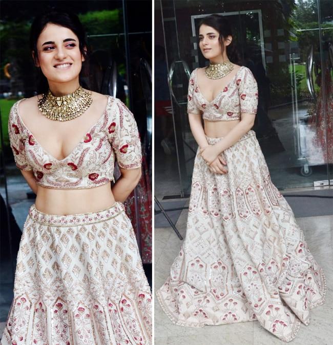 Radhika Madan sets the temperatures soaring in a pastel pink bridal lehenga