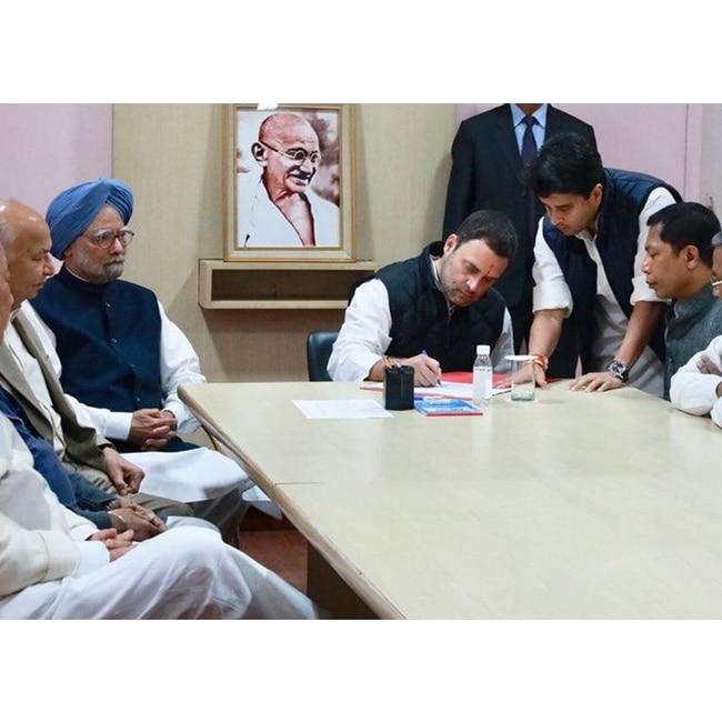 Rahul Gandhi files nomination for Congress President post