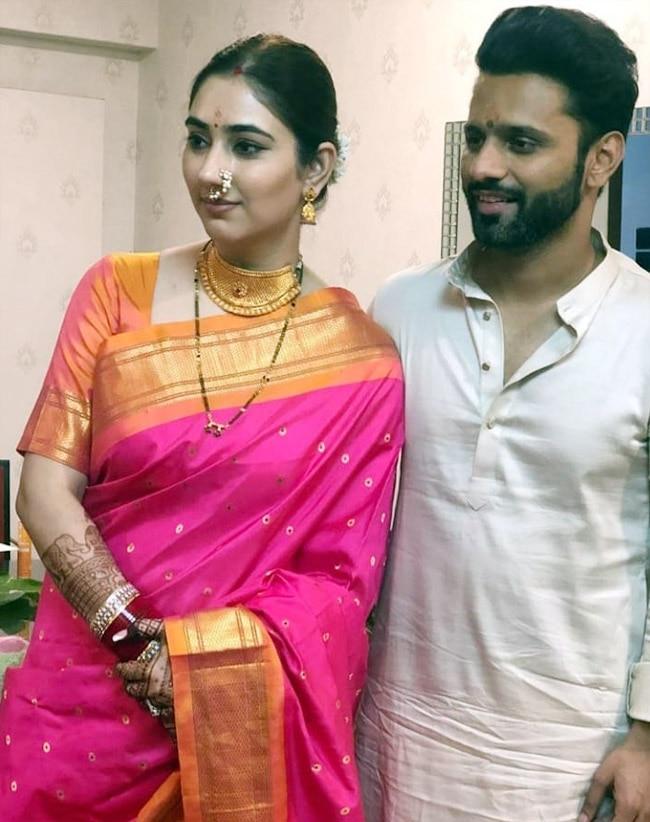 Rahul Vaidya  Disha Parmar Look Stunning In Maharashtrain Traditional Wear