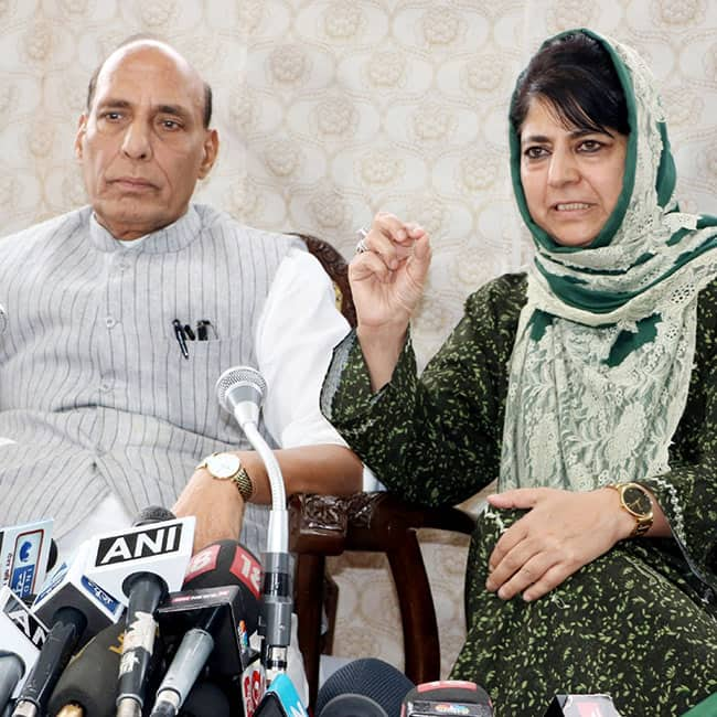 Rajnath Singh holds a press conference with Mehbooba Mufti in Srinagar
