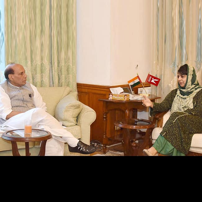 Rajnath Singh interacts with Mehbooba Mufti