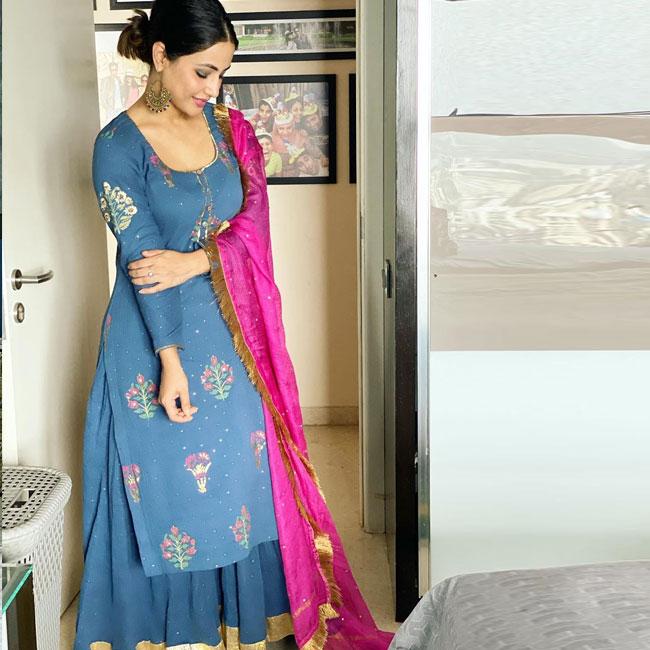 Raksha Bandhan 2020  Hina Khan Goes Traditional in Blue Ethnic Wear